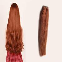 ingrosso tessuto remy auburn-# 33 Fasci di capelli brasiliani scuri castano scuro fasci di capelli diritti 100% dei capelli umani di trama di tessitura dei capelli di Remy