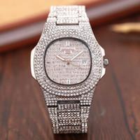 роскошные часы бриллианты оптовых-Новый Известный алмаз Роскошный Кристалл Циферблат Браслет Кварцевые Наручные Часы мода Подарок Дамы Женщины Золото Розовое Золото Серебро Оптовая Бесплатная Доставка