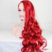 ingrosso lunghe parrucche colorate-100% non trasformati capelli umani vergini remy sexy aaaaaaaa rosso colorato lungo onda del corpo parrucca superiore di seta piena del merletto per le donne