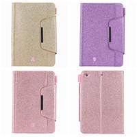 ingrosso bling casi per ipad mini-Luxury Bling Glitter Leather Wallet per Apple iPad Mini 1 2 3,4, Ipad 2 3 4, 5 6 Air 2 9.7 '', 2017 2018 PU Sparkle Holder Card Cover per la pelle