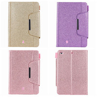 Wholesale Apple Ipad Bling Cases - Luxury Bling Glitter Leather Wallet For Apple iPad Mini 1 2 3,4,Ipad 2 3 4, 5 6 Air 2 9.7'',2017 2018 PU Sparkle Holder Card Case Skin Cover