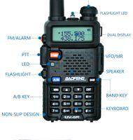 transceptor 3km al por mayor-100% BaoFeng UV-5R Wireless Walkie Talkie Radio CB profesional Baofeng UV5R Transceptor 128CH 5W VHFUHF Handheld UV 5R para radio de caza