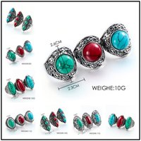 Wholesale vintage turquoise gold ring - Fantastic 6 Designs Vintage 3 Colors Turquoise Natural Stone 59~62cm Circumference Rings Alloy Gemstone Punk Style Jewelry