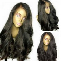 Wholesale long straight light wavy hair resale online - 250 Density Lace Front Human Hair Wigs Brazilian Virgin Hair Front Lace wavy straight Lace Frontal Hair Wigs For Black Women