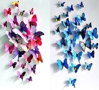 3d duvar sanatı dekoru toptan satış-3D Kelebek Duvar Sticker Simüle Kelebekler 3D Kelebek Çift Kanat Duvar Dekor Sanat Çıkartmaları Ev Dekorasyon