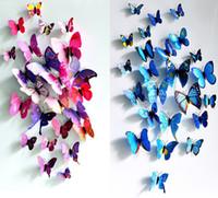 casas de mariposas al por mayor-3D Mariposa Etiqueta de La Pared Mariposas Simuladas 3D Mariposa Doble Ala Pared Decoración Tatuajes de Arte Decoración Del Hogar