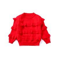 baby mädchen roten pullover großhandel-Baby Mädchen Herbst Winter Pullover 2018 Mädchen Langarm Strickpullover Rot Weihnachten Pullover für 2-6Y Kinder Warme Samt Mantel