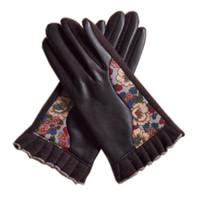 gants en nylon sexy achat en gros de-Hiver épaissir laine femmes mitaines golves imprimé mode pu et laine plein doigt gants sexy café à tricoter dames gants