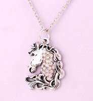 Wholesale pendent necklaces resale online - Crystals Silver Color Horse Head Animal Charm Necklace Antique Silver Plated Zinc Horse s Head Pendent Jewelry Trade Assurance Service