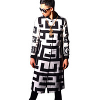 männliche kostümmuster großhandel-Großhandels- High Street Male Baseball Style Graben Jacke Maze Pattern Printing Mode Lässige Trenchcoat Super Star Bühne Kostüme