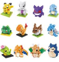 Wholesale pokemon boxes - Poke pikachu 3D puzzle building blocks Diamond blocks Pokémon go intelligence educational toys Birthday gifts with gift box
