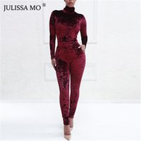 sexy woman velvet 2018 - JULISSAMO 2018 New Long Sleeve Sexy Women Velvet Jumpsuit Turtleneck Pocket Skinny Casual Rompers Womens Jumpsuit Party Overalls