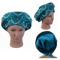 sombrerería para bodas al por mayor-Gorros Africanos Para Bodas 022 Alta Calidad Con Cuentas Auto Sego Gele Headtie