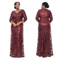 Wholesale evening dress knee length sequined - Burgundy Sequin Lace Plus Size Mother Of The Bride Groom 2018 Special Occasion Dresses V-Neck Long Sleeve Mermaid Evening Gowns Custom Made