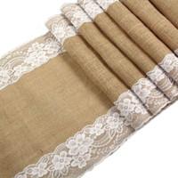 ткань для свадьбы оптовых-Lace Natural Burlap Jute Hessian Table Runner Cloth Wedding 2.75m x30cm and 1.8mx30cm New 5BB5419