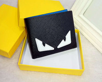Wholesale open small business - Wholesale Double eyes leather 2018 small monster wallet Men's short-sleeved cross section of the youth personality soft wallets tide fashion
