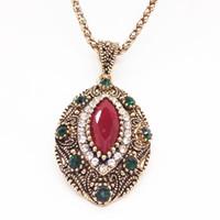 rote böse augenschmuck großhandel-Vintage Red Edelstein türkische Evil Eye Anhänger Halskette für Frauen Antik Gold Türkei Schmuck Dropship Lieferanten