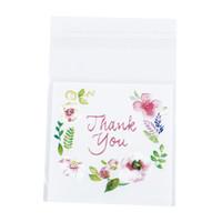 çerez paketleme torbaları toptan satış-Teşekkür Ederim Çiçek Desen Kendinden Yapışkanlı DIY Çerez Plastik Torbalar Festivali Parti Hediye Ambalaj Depolama Mühür Çanta 100 adet / torba 4 Boyutları