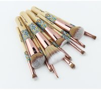 conjunto de pincéis de maquiagem de bambu venda por atacado-Atacado New 12 PCS Make Up Brushes De Bambu Profissional de Maquiagem Jogo de Escova Macia Sintética Cosméticos Escova Kit