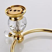 bague de toilette en laiton achat en gros de-Gros-mur monté laiton anneau de serviette en or de cristal, porte-serviette, accessoires de salle de bain de barre de serviette 4561