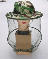 ingrosso cappello copre la faccia-Moda estate all'aperto cappello mimetico con copertura in mesh midge zanzara cappello insetto testa rete mesh protezione del viso viaggio campeggio