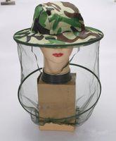 sivrisinek başlı net şapka toptan satış-Moda yaz açık kamuflaj şapka örgü kapak ile tatarcık sivrisinek böcek şapka böcek örgü kafa net yüz koruyucusu seyahat kamp