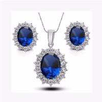 ingrosso collana orecchini blu-Moda argento blu cristallo set di gioielli di lusso vintage partito goccia d'acqua cz necklaceErings gioielli