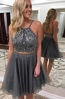 Wholesale mint green prom mini dress resale online - 2019 Cheap Short Mint Gray Cocktail Dresses Two Pieces Keyhole Crystal Beads Organza Prom Dress Party Plus Size Open Back Homecoming Gowns