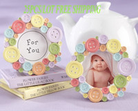 Wholesale photo gifts wedding free shipping for sale - Best Baby Birthday Gift of Cute as a Button Round Photo Frame for Newborn baby and baby souvenirs