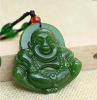 pendentif collier de jade noir achat en gros de-Fine naturel sculpté à la main noir vert jade bouddha Lucky Amulet pendentif collier A