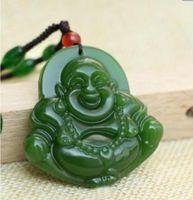 siyah yeşim taş kolye toptan satış-Ince Doğal el oyması siyah yeşil yeşim buda Şanslı Muska kolye kolye Bir