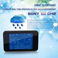 relojes de detección de movimiento al por mayor-Previsión del tiempo Cámara del reloj WIFI P2P 1080P visión nocturna Mini cámara IP detección de movimiento 175 grados reloj DVR Seguridad del hogar Vigilancia