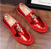 marcas de calçado superior para homem venda por atacado-2018 NOVA chegada Homens Top Marca Designer de Glitter sapatos de Ouro dos homens Sapatos de Vestido Sapatos de Lantejoulas dos homens mocassins loafers plataforma 38-43
