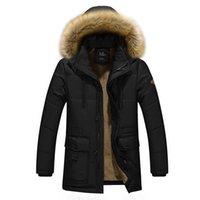 erkekler iş parkı toptan satış-Kalın Sıcak Kış Ceket Erkekler Uzun Parka Katı Iş Rahat Kürk Kapşonlu Erkekler Kış Ceket baba 'ın Hediye Palto C18111201