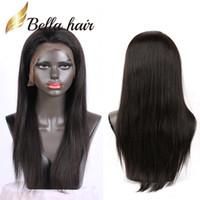 perucas de cabelo preto não processadas venda por atacado-Bellahair Peruca Dianteira Do Laço Em Linha Reta 360 Cheia Do Laço Perucas de Cabelo Humano para As Mulheres Negras Não Transformados Peruano Virgem Cabelo Lace Wigs com Babyhair