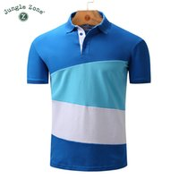 Wholesale polo blue for sale - Europe Large Size Brand Men S Polo Shirts Fashion Stitching Design Lapel Short Sleeve Polo Shirt Cotton Casual Male Polos