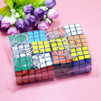Wholesale cubed squared - 3x3x3cm Mini Magic Cube Puzzle Keychain Magic Game magic Square key ring learning education game cube good Gift toys key rings