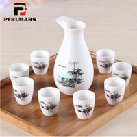 japanese sake set venda por atacado-Criativo Conjunto De Vinho De Porcelana Cerâmica Drinkware Vintage Paern Copo De Licor com Kit De Garrafa De Quadril Japonês Pequeno Saquê Tigela Kele Pot