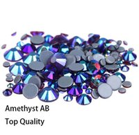 Wholesale amethyst crystals for sale resale online - Hot Sale A Grade Quality amethyst AB Glass Crystals Strass Stones Hotfix Rhinestones For clothing Garment Accessorie