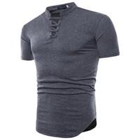 camisa de colarinho de cor preta venda por atacado-Lace-up colarinho dos homens t shirt preto branco cor sólida algodão casual T shirt dos homens de moda de manga curta verão tops roupas t-shirt