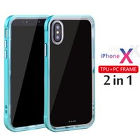 Wholesale Bumper Frame Case - Soft Clear TPU Reinforced PC Frame Protective bumper phone case crystal transparent cases for iphone x 8 iphone 7 case