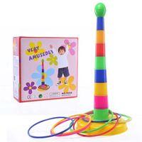 ingrosso giocattoli di giardino di plastica-Quoits Toy Family Hooplaplay Giochi Kids Children Puzzle Toys Outdoor Anello di plastica Toss Garden Gioco multi colore Vendita calda 5 4bx Z