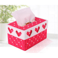 Wholesale Crafts Tissue Boxes - Wholesale- DIY Handmade 3D Cross Stitch Embroidery Tissue Box Case Holder crafts knitting wool embroidery needlework kits setpaper box