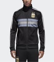 Wholesale Cups Sets - Argentina tracksuit Soccer jacket set 2018 world cup Argentina Blue soccer SUIT Messi Aguero CHANDAL suit TRACKSUIT SPORTSWEAR