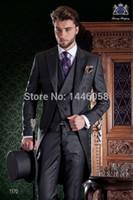 мужские костюмы свадебный серый фрак оптовых-Custom Morning Style Groom Tuxedos Grey Best man Groomsman Suit Mens Wedding Suits Bridegroom Tailcoat (Jacket+Pants+Tie+Vest)