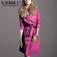 manteau violet à la longue femme achat en gros de-Vêtements pour femmes d'hiver, manteau de laine avec col taille, corps violet est mince et mince, longue durée manteau marée livraison gratuite