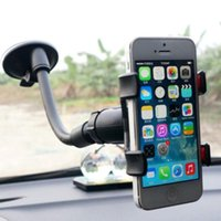Wholesale Pda Clip - Double Clip Car Mount Universal Long Arm Neck 360 Degree Rotation Windshield Phone Holder for Cell Phones CCA9610 200pcs
