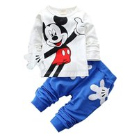 Wholesale cute baby girl clothes for sale - 2018 Fashion Brand Autumn Children Boy Girl Clothing Sets Baby Cotton Cute Mouse T shirt Pants Clothes Toddler Tracksuit Y1892613