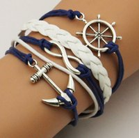 Wholesale Weaving fashion ancient silver boat anchor ship rudder multi skin Bracelet hand jewelry