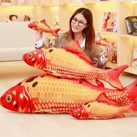 Wholesale grass carp - New 3D Grass Carp Pillow PP Stuffed Plush Simulation Animal Fish Toy Cushion Children Gift 60cm squishy